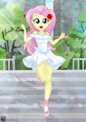 Size: 895x1263 | Tagged: safe, artist:charliexe, fluttershy, equestria girls, beautiful, clothes, cute, dress, female, flower, flower in hair, flutterthighs, legs, open mouth, paraskirt, schrödinger's pantsu, shyabetes, smiling, solo, stairs, thighs, white dress