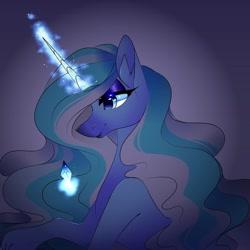 Size: 1080x1079   Tagged: safe, artist:tessa_key_, oc, oc only, pony, unicorn, bedroom eyes, bust, eyelashes, female, glowing horn, horn, magic, makeup, mare, smiling, solo, telekinesis, unicorn oc