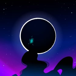 Size: 1080x1080   Tagged: safe, artist:tessa_key_, princess luna, alicorn, pony, eclipse, female, glowing horn, horn, looking up, magic, mare, night, stars, telekinesis