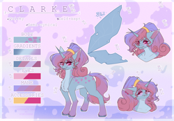Size: 3580x2512 | Tagged: safe, artist:honeybbear, oc, oc:clarke, pony, reference sheet, solo