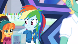 Size: 3410x1920 | Tagged: safe, screencap, rainbow dash, zephyr breeze, dashing through the mall, equestria girls, equestria girls series, holidays unwrapped, spoiler:eqg series (season 2), clothes, cutie mark, cutie mark on clothes, female, geode of super speed, hoodie, jewelry, magical geodes, male, necklace, open mouth