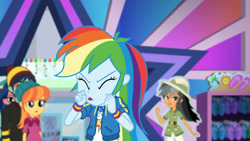 Size: 3410x1920 | Tagged: safe, screencap, daring do, rainbow dash, dashing through the mall, equestria girls, equestria girls series, holidays unwrapped, spoiler:eqg series (season 2), clothes, cutie mark, cutie mark on clothes, eyes closed, female, geode of super speed, hoodie, jewelry, magical geodes, male, necklace, open mouth