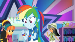 Size: 3410x1920 | Tagged: safe, screencap, daring do, rainbow dash, dashing through the mall, equestria girls, equestria girls series, holidays unwrapped, spoiler:eqg series (season 2), clothes, cutie mark, cutie mark on clothes, female, geode of super speed, hoodie, jewelry, magical geodes, male, necklace, open mouth