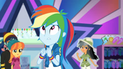 Size: 3410x1920 | Tagged: safe, screencap, daring do, rainbow dash, dashing through the mall, equestria girls, equestria girls series, holidays unwrapped, spoiler:eqg series (season 2), clothes, cutie mark, cutie mark on clothes, female, geode of super speed, hoodie, jewelry, looking up, magical geodes, male, necklace, open mouth