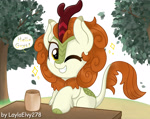 Size: 2421x1920 | Tagged: safe, artist:laylaelvy278, autumn blaze, kirin, awwtumn blaze, cute, female, grin, high res, mare, one eye closed, smiling, solo, speech bubble, tree, wink