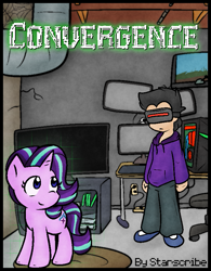 Size: 669x857   Tagged: safe, artist:zutcha, starlight glimmer, human, pony, unicorn, computer, fanfic, fanfic art, fanfic cover, smiling