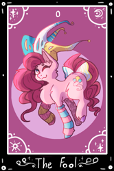Size: 785x1181   Tagged: safe, artist:leonrat, pinkie pie, earth pony, pony, bow, clothes, hat, jester hat, one eye closed, socks, solo, striped socks, tail bow, tarot card
