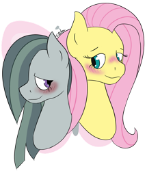 Size: 1280x1487   Tagged: safe, artist:ikilou, fluttershy, marble pie, earth pony, pegasus, pony, blushing, bust, female, heart, lesbian, marbleshy, mare, shipping, shy, simple background, transparent background