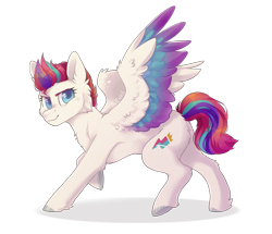Size: 4465x3847 | Tagged: safe, artist:twinkesus, zipp storm, pegasus, pony, g5, cheek fluff, chest fluff, colored wings, ear fluff, female, high res, hoof fluff, looking at you, mare, multicolored hair, multicolored tail, multicolored wings, raised hoof, simple background, smiling, solo, spread wings, transparent background, unshorn fetlocks, wings
