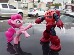 Size: 4128x3096 | Tagged: safe, artist:dingopatagonico, pinkie pie, pony, car, hoofbump, irl, photo, toy