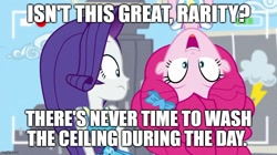 Size: 888x499   Tagged: safe, edit, edited screencap, screencap, pinkie pie, rarity, best trends forever, equestria girls, equestria girls series, best trends forever: pinkie pie, caption, choose your own ending (season 1), duo, duo female, female, graveyard shift, image macro, imgflip, in which pinkie pie forgets how to gravity, meme, pinkie being pinkie, pinkie physics, script in the comments, spongebob squarepants, text, upside down