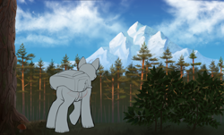 Size: 3120x1888 | Tagged: safe, artist:klooda, pony, adventure, advertisement, auction, backpack, bush, camping, cloud, commission, day, detailed, detailed background, forest, forest background, from behind, full body, generic pony, grass, journey, mountain, pine tree, raised hoof, realistic, rear view, scenery, solo, standing, tree, wood, your character here