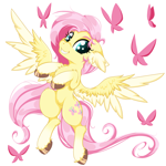 Size: 2500x2500 | Tagged: safe, artist:rurihal, fluttershy, butterfly, pegasus, pony, chest fluff, cute, ear fluff, floppy ears, looking at you, shyabetes, simple background, white background