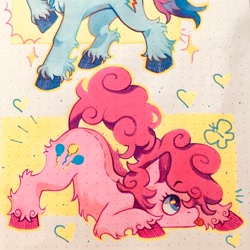 Size: 1024x1024   Tagged: safe, artist:mefluiwave, pinkie pie, rainbow dash, butterfly, earth pony, pony, :p, belly fluff, cute, diapinkes, face down ass up, female, heart, leg fluff, mare, marker drawing, profile, solo focus, tongue out, traditional art, unshorn fetlocks