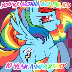 Size: 1920x1920 | Tagged: safe, artist:melonmilk, derpibooru exclusive, rainbow dash, pegasus, pony, album cover, anniversary, happy birthday mlp:fim, join the herd, pmv, rainbow, show accurate, solo, song reference, the offspring, youtube link