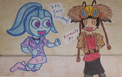 Size: 1280x808 | Tagged: safe, artist:dex stewart, sonata dusk, alien, equestria girls, crossover, disguise, disguised siren, duo, duo female, female, marah, open mouth, open smile, power rangers, power rangers ninja storm, smiling, taco tuesday, talking, traditional art