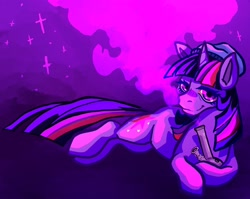 Size: 2048x1630 | Tagged: safe, artist:kitcatchronicl2, pony, unicorn, beanie, bong, drugs, hat, lidded eyes, looking at you, smiling, smoke, solo, sparkles