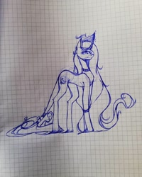 Size: 1080x1350 | Tagged: safe, artist:tessa_key_, oc, oc only, oc:dark moon, pony, unicorn, curved horn, female, graph paper, horn, leonine tail, lineart, mare, solo, traditional art, unicorn oc