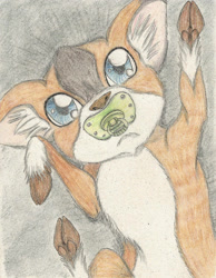 Size: 1740x2245 | Tagged: safe, artist:cindertale, oc, oc only, deer, baby, cloven hooves, deer oc, ear fluff, pacifier, solo, traditional art