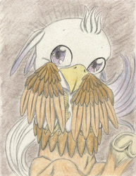 Size: 1741x2252 | Tagged: safe, artist:cindertale, oc, oc only, hippogriff, frog (hoof), hippogriff oc, smiling, solo, traditional art, underhoof, wings