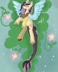 Size: 589x736 | Tagged: safe, artist:random_glitter_productions, oc, oc only, oc:coraliss rose, draconequus, hybrid, draconequus oc, female, interspecies offspring, offspring, parent:discord, parent:fluttershy, parents:discoshy, solo