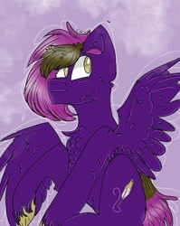 Size: 539x676 | Tagged: safe, artist:cocolove2176, oc, oc only, pegasus, pony, abstract background, chest fluff, male, pegasus oc, raised hoof, smiling, solo, stallion, unshorn fetlocks, wings