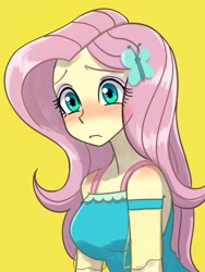 Size: 1620x2160 | Tagged: safe, artist:haibaratomoe, fluttershy, equestria girls, equestria girls series, blushing, breasts, busty fluttershy, butterfly hairpin, clothes, cute, dress, eyeshadow, female, frown, hairpin, makeup, shyabetes, simple background, solo, yellow background