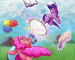 Size: 750x600 | Tagged: safe, artist:nepharus, pinkie pie, twilight sparkle, 2012, balloon, book, party cannon, quill