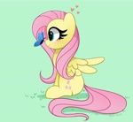 Size: 4096x3758 | Tagged: safe, artist:kittyrosie, fluttershy, butterfly, pegasus, pony, blushing, butterfly on nose, cute, daaaaaaaaaaaw, female, heart, high res, insect on nose, looking at something, mare, profile, shyabetes, sitting, smiling, solo, spread wings, starry eyes, wingding eyes, wings