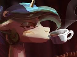 Size: 1009x746 | Tagged: safe, artist:alumx, princess celestia, alicorn, pony, bust, coffee, coffee mug, drinking, female, mare, mug, solo