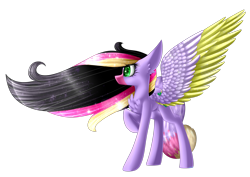 Size: 2912x2060   Tagged: safe, artist:mediasmile666, oc, oc only, pony, colored muzzle, female, mare, raised hoof, simple background, solo, spread wings, transparent background, two toned wings, wings