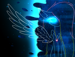 Size: 2828x2121   Tagged: safe, artist:mediasmile666, oc, oc only, oc:media smile, pegasus, pony, female, glowing eyes, jewelry, mare, pendant, solo, spread wings, wings