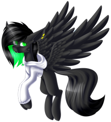 Size: 2333x2570   Tagged: safe, artist:mediasmile666, oc, oc only, pegasus, pony, clothes, ear piercing, fangs, flying, hoodie, piercing, simple background, solo, spread wings, transparent background, wings