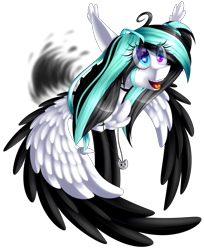 Size: 2163x2645   Tagged: safe, artist:mediasmile666, oc, oc only, pegasus, pony, commission, female, floppy ears, heterochromia, jewelry, mare, pendant, simple background, smiling, solo, spread wings, starry eyes, transparent background, two toned wings, wingding eyes, wings