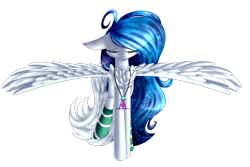 Size: 2993x2004   Tagged: safe, artist:mediasmile666, oc, oc only, pegasus, pony, clothes, commission, eyes closed, female, floppy ears, jewelry, mare, pendant, simple background, socks, solo, spread wings, transparent background, wings