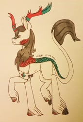 Size: 2293x3354 | Tagged: safe, artist:agdapl, kirin, crossover, hoof fluff, horn, kirin-ified, leonine tail, male, medic, raised hoof, signature, smiling, solo, species swap, team fortress 2, traditional art