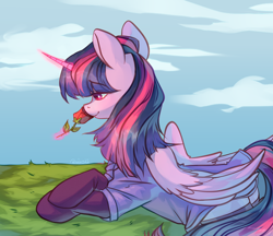 Size: 2532x2192 | Tagged: safe, artist:neonishe, twilight sparkle, alicorn, pony, beautiful, clothes, female, flower, folded wings, glowing horn, horn, lying down, magic, mare, rose, smiling, solo, stockings, telekinesis, thigh highs, twilight sparkle (alicorn), wings