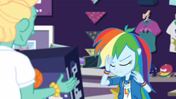 Size: 3410x1920 | Tagged: safe, screencap, rainbow dash, zephyr breeze, dashing through the mall, equestria girls, equestria girls series, holidays unwrapped, spoiler:eqg series (season 2), clothes, cutie mark, cutie mark on clothes, eyes closed, female, geode of super speed, hoodie, jewelry, magical geodes, male, necklace