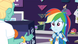 Size: 3410x1920 | Tagged: safe, screencap, rainbow dash, zephyr breeze, dashing through the mall, equestria girls, equestria girls series, holidays unwrapped, spoiler:eqg series (season 2), clothes, cute, cutie mark, cutie mark on clothes, daaaaaaaaaaaw, dashabetes, female, geode of super speed, hoodie, jewelry, lip bite, magical geodes, male, necklace