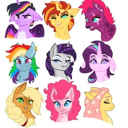 Size: 500x500 | Tagged: safe, artist:nalanisumner17, applejack, fluttershy, pinkie pie, rainbow dash, rarity, starlight glimmer, sunset shimmer, tempest shadow, twilight sparkle, alicorn, earth pony, pegasus, pony, unicorn, alternate hairstyle, bedroom eyes, ear piercing, earring, eye scar, eyes closed, eyeshadow, female, floppy ears, flower, flower in hair, grin, jewelry, makeup, mane six, mare, markings, nose piercing, nose ring, one eye closed, open mouth, piercing, redesign, scar, simple background, smiling, twilight sparkle (alicorn), white background, wink