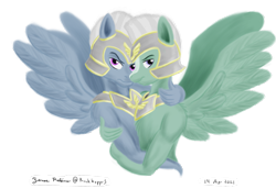 Size: 1600x1100 | Tagged: safe, artist:rockhoppr3, pegasus, anthro, g5, annoyed, armor, blaze (coat marking), frown, gay, guard, helmet, hug, looking at you, male, peytral, shipping, signature, simple background, spread wings, stallion, transparent background, unnamed character, unnamed pony, wings
