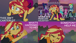 Size: 1280x720   Tagged: safe, edit, edited screencap, editor:quoterific, screencap, applejack, fluttershy, pinkie pie, rainbow dash, rarity, sci-twi, sunset shimmer, twilight sparkle, equestria girls, equestria girls series, forgotten friendship, applejack's hat, belt, boots, bowtie, bracelet, canterlot high, clothes, converse, cowboy boots, cowboy hat, cutie mark, cutie mark on clothes, denim skirt, eyes closed, female, geode of empathy, geode of fauna, geode of shielding, geode of sugar bombs, geode of super speed, geode of super strength, geode of telekinesis, glasses, hairpin, hat, hoodie, humane five, humane seven, humane six, jacket, jewelry, leather, leather jacket, magical geodes, necklace, open mouth, ponytail, rarity peplum dress, sandals, shoes, skirt, tanktop