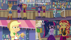 Size: 1280x720 | Tagged: safe, edit, edited screencap, editor:quoterific, screencap, applejack, flam, flim, sci-twi, sunset shimmer, twilight sparkle, equestria girls, equestria girls series, rollercoaster of friendship, applejack's hat, belt, bowtie, clothes, cowboy hat, cutie mark, cutie mark on clothes, denim skirt, female, flim flam brothers, geode of empathy, geode of super strength, geode of telekinesis, glasses, hands behind back, hat, jacket, jewelry, leather, leather jacket, magical geodes, male, necklace, ponytail, skirt, ticket