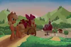 Size: 2048x1349 | Tagged: safe, artist:biocrine, apple bloom, applejack, apple, food, sweet apple acres