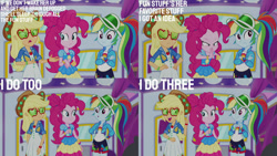 Size: 1280x720   Tagged: safe, edit, edited screencap, editor:quoterific, screencap, applejack, pinkie pie, rainbow dash, equestria girls, equestria girls series, wake up!, spoiler:eqg series (season 2), clothes, crossed arms, cutie mark, cutie mark on clothes, eyes closed, geode of sugar bombs, geode of super speed, geode of super strength, glasses, hands on hip, magical geodes, music festival outfit