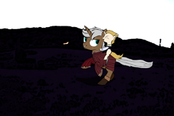 Size: 1920x1280 | Tagged: safe, artist:uncreative, oc, oc:regal inkwell, oc:russet lance, pony, unicorn, clothes, colt, duo, father and child, father and son, male, playing, ponies riding ponies, riding, running, younger