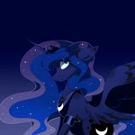 Size: 1080x1079   Tagged: safe, artist:tessa_key_, princess luna, alicorn, pony, ethereal mane, female, gradient background, horn, jewelry, mare, peytral, solo, starry mane, tiara, wings