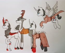 Size: 3336x2714 | Tagged: safe, artist:agdapl, alicorn, deer, kirin, pony, unicorn, alicornified, antlers, crossover, deerified, hoof fluff, horn, kirin-ified, leonine tail, male, medic, multeity, ponified, race swap, raised hoof, signature, smiling, species swap, team fortress 2, traditional art