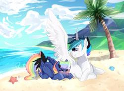 Size: 2860x2097 | Tagged: safe, artist:kraytt-05, oc, oc:rainbow thunder, oc:zero fire, alicorn, pegasus, alicorn oc, beach, blushing, crossed hooves, horn, lying down, male, multicolored hair, multicolored hooves, oc x oc, ocean, offspring, palm tree, parent:princess cadance, parent:rainbow dash, parent:shining armor, parent:soarin', parents:shiningcadance, parents:soarindash, prone, rainbow hair, sand, shipping, stallion, sunglasses, tree, wings