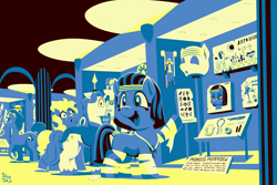 Size: 4200x2800 | Tagged: safe, artist:wispy tuft, fancypants, oc, oc:bluesliver, oc:mummydew, diamond dog, pony, ankh, anubis, bandage, courage the cowardly dog, egyptian, egyptian pony, jewelry, museum, pharaoh, statue